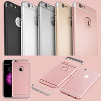 Luxury 3 in 1 Full Body Hard Plastic Case For Iphone 6 6S 4.7/ 6 6S Plus 5.5 Rose Gold Case Clear Logo Circle Cover +Screen Film