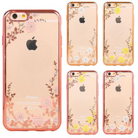 New Luxury Secret Garden Flowers Rhinestone Cell Phone Cases For iPhone6 For iPhone 6 6S Plus 5 SE Women Plating Rose Gold Cover
