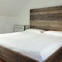 Reclaimed Wood Bed Combining Modern Lines with Timeless Weathered Patina