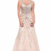 KC131581 Peach Jeweled Prom Pageant Dress by Kari Chang Couture