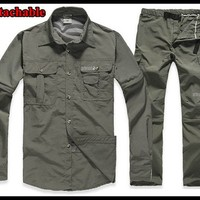 fishing men  set brand sports suit men shirts UV Resistant detachable quick dry outdoor hiking pants and shirts