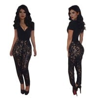 Sexy Womens Black Lace Floral Print Deep V Neck Bodycon Jumpsuit Rompers (US M, Black)