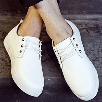 Lace-Up Low Top PU Sneakers