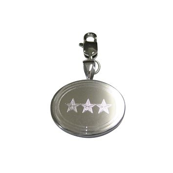 Silver Toned Etched Oval 3 Stars Pendant Zipper Pull Charm