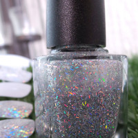 Nail Polish Miss World Silver holographic sparkle by deadsetbabes