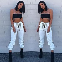Straps Lace Up Patchwork High Waist Slim Casual Pants