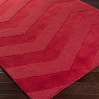 Mystique Area Rug | Red Solids and Borders Rugs Hand Loomed | Style M5364