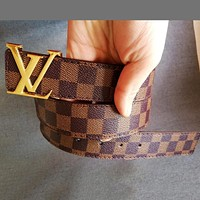 Louis Vuitton LV Tide brand classic checkerboard men and women models wild smooth buckle belt coffee