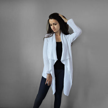 FREE SHIPPING Pure cotton cardigan White long cardigan Long sleeve sweater Summer knitwear Knit spring elegant coat Lace stitch overcoat