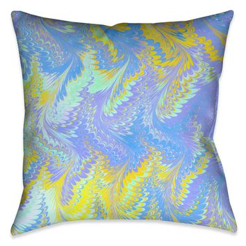 Bright Lavender Yellow Marble Outdoor Decorative Pillow