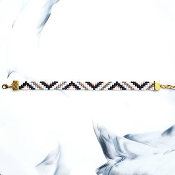 Touch of Gold Seed Bead Mini Cuff Bracelet