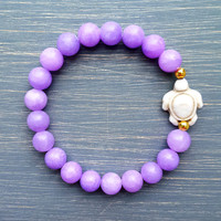 Lavender Sea Turtle Gemstone Bracelet