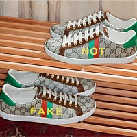 """GUCCI Ace women's """"fake / not"""" printed sneakers"""