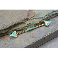 Turquoise Triangle Industrial Barbell