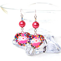 Funky cupcake and heart candy sprinkle earrings - pink cupcake and sprinkles resin earrings - candy heart earrings by Sparkle City Jewelry