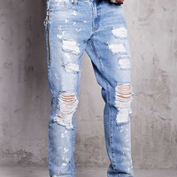 Distressed Zippered Jeans