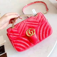 GUCCI new wave pattern women's chain bag suede shoulder diagonal female bag