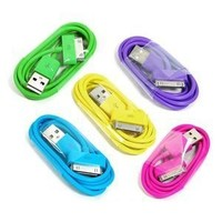 COSMOS ® 5 PCS of Aqua Blue/Hot Pink/Purple/Green/Yellow 3 feet USB Charge and Sync Data Cable for iPod touch itouch / Nano / iPhone 4 4s 3 3Gs / iPad, FITS IPHONE 4 BUMPER AND ALL OTHER CASES + Free COSMOS cable tie