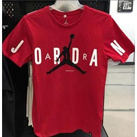 Jordan Popular In The World Men Women Casual Print Sport Short Sleeve Round Collar T-Shirt Pullover Top Red