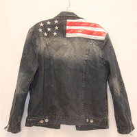Americana Stars and Stripes Jean Jacket | Womens Medium Large or Mens Small | 90s Biker Unisex Faux Leather & Faded Distressed Denim Jacket