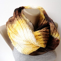 yellow brown knitted scarf, infinity scarf, circle scarf, eternity scarf, winter scarves, women and men scarf