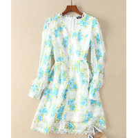 Aliexpress.com : Buy runway fashion 2018 green leaves blue floral print bohemian beach short dress v neck long sleeve women sexy shirt blouse dress from Reliable Dresses suppliers on Runway Life Store