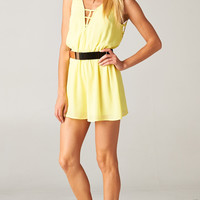 YELLOW BACKLESS CAGED CHIFFON ROMPER