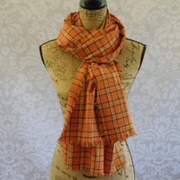 Flannel Scarf Orange Navy Gold Metallic Paid Women's Accessories Eternity Fall Winter