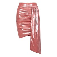 Tomorrow's Dream Salmon Pink Metallic Ruched Bodycon Draped Mini Skirt
