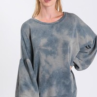 Tie Dye Top with Bubble Sleeve - Teal Blue