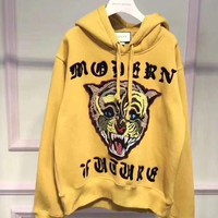 ONETOW GUCCI Women/Men Angry Cat Embroidered Hooded Sweatshirt