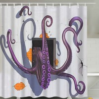 3D Cartoon Octopus Flee Printed Shower Curtain