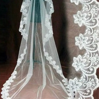 New 3M CATHEDRAL LENGTH WEDDING VEIL WHITE IVORY LACE EDGE BRIDE MANTILLA = 1930261956