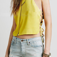 Yellow Strappy Side Lace Up Cropped top