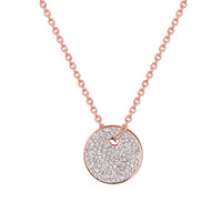 """Choker Dainty Design Pendant Necklace Rose Gold Over Stainless Steel 18"""" Chain Women"""