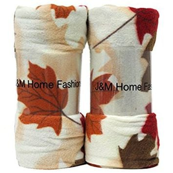"J & M Home Fashions Harvest Fall Leaves Fleece Throw (2 Pack), 50"" by 60"""