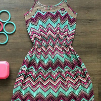 Zigzag Pattern Spaghetti Strap Sleeveless Sundress