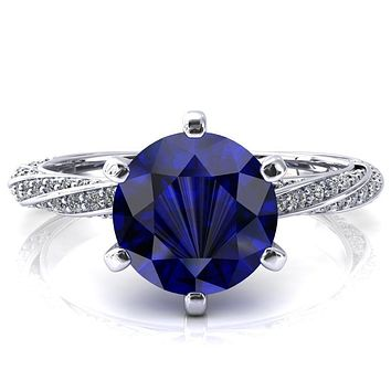 Elysia Round Blue Sapphire 6 Prong 3/4 Eternity Diamond Accent  Ring