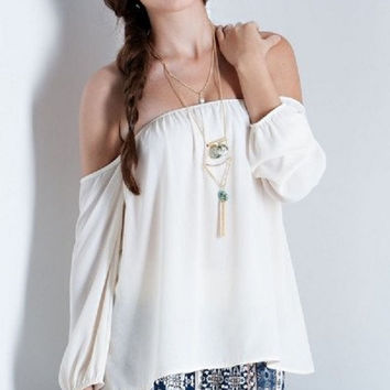 Solid off the Shoulder 3/4 Sleeve Top (Butter)
