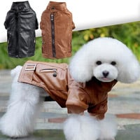 Cool Style PU Leather Pet Dog Cat Winter Warm Coat Jacket Zipper Pockets Clothes for Dog ropa para perros