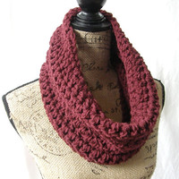 Burgundy Cowl Scarf Fall Winter Women's Accessory Infinity