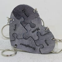 Leather Heart Puzzle Key Personalized set of 5