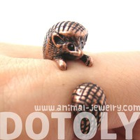 Realistic 3D Hedgehog Animal Wrap Ring in Copper Sizes 4 to 9 US