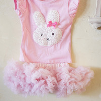 Girls Easter Dress - First Easter - Baby first Easter Outfit - Bunny Outfit - Pettskirt - Easter Dress