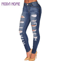 Fall Women Denim Destroyed Skinny Jeans High Waist Jeans woman Stretchy Ripped Hole Pencil Pants Vaqueros Mujer SM6