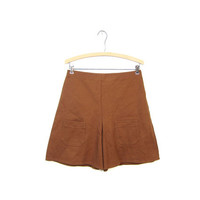 Rust Brown Shorts 60s High Waist Wide Leg Shorts with Front POCKETS Hippie Boho Prep 1960s Mod Hipster Louannes Vintage Womens Small Medium