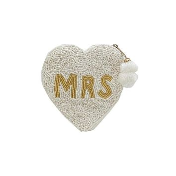 MRS Heart Beaded Coin Purse