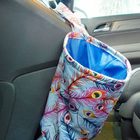 Water Resistant Car Trash Bag/Organizer Caddy for Gear Shift Peacock Feathers with Classic Blue Lining Washable Car Trash/Waste/Refuse Bag