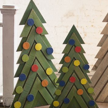 Set of 2 Green Wooden Christmas Trees