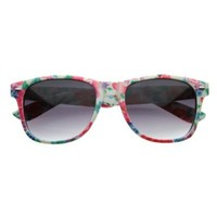 zeroUV - Cute Floral Print Flower Design Womens Shades Sunnies Horn Rimmed Sunglasses (White)